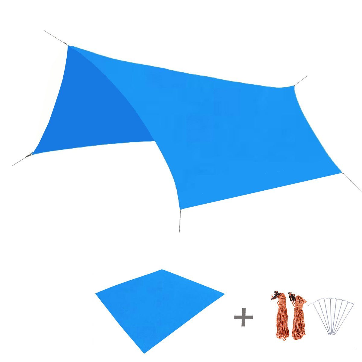 TRIWONDER Waterproof Hammock Rain Fly Tent Tarp Footprint Camping Shelter Ground Cloth Sunshade Mat for Outdoor Hiking Beach Picnic (Blue, L+Accessories) by TRIWONDER