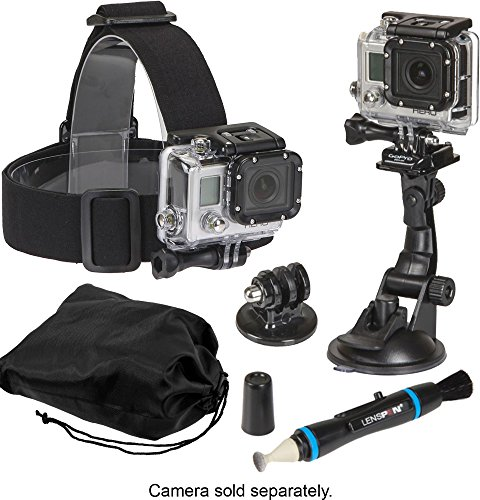 Price comparison product image Sunpak 5 Piece Accessory Kit - Head Mount,  Suction Cup Mount,  Tripod Mount with Lens Pen Cleaner & Storage Pouch for GoPro Cameras