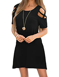 32d4ab156c70 Queensheero Women s Summer Strappy Cold Shoulder Tunic Top Swing T-Shirt  Loose Dress with Pockets
