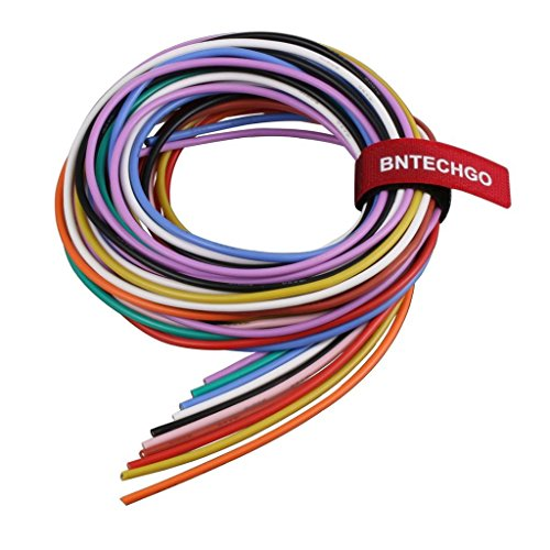 BNTECHGO 16 Gauge Silicone Wire Kit Ultra Flexible 10 Color High Resistant 200 deg C 600V Silicone Rubber Insulation 16 AWG Silicone Wire 252 Strands of Tinned Copper Wire Stranded Wire Battery Cable