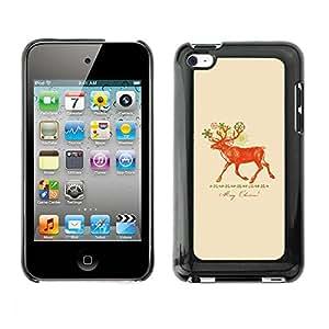 Cubierta de la caja de protección la piel dura para el APPLE IPOD TOUCH 4 - Christmas deer red peach