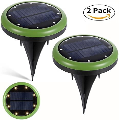 Solar Light, 2-Pack Solar Outdoor Ground Lights 8 LED Waterproof Outdoor Landscape Lighting Spotlight Wall Light Auto On Off for Yard Driveway Lawn Pathway
