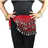 Demon Baby 2017 Lady's' Sexy Red Dangling Belly Dance Hip Scarf Belt With Three Layers 128 Silver Coins