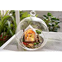 DIY Wooden Miniature Dollhouse Kit--Small Villa Model with Glass transparent Cover/LED Light/Sound control light switch