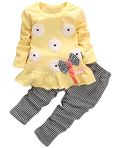 Kids Long Sleeves Cute Flowers Print Pattern T Shirt Tops with Bow Tie + Pants Set 2 Pieces Plaids Outfit Suit for Toddler Baby & Little Girls, Yellow, Age 2T-3T -