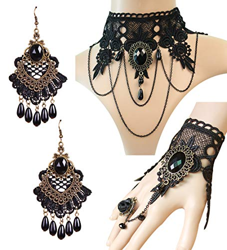 (IBBM I WILL BE YOUR BEST MEMORY Black Choker Lace Necklace with Bracelet and Earrings Set - Punk Party Gothic Vintage Accessories for)