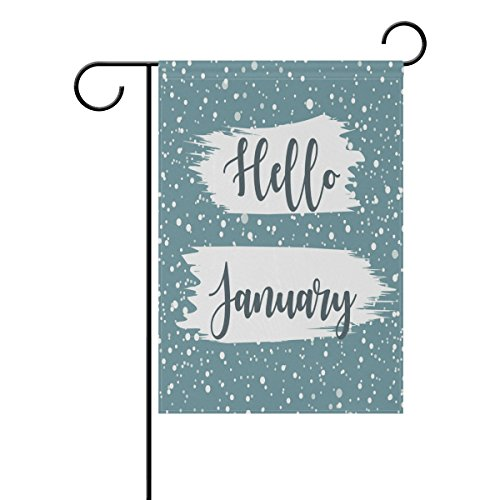 ALAZA Hello January and Winter Snow Polyester Garden Flag House Banner 12 x 18 inch, Two Sided Welcome Yard Decoration Flag for Wedding Party Home Decor