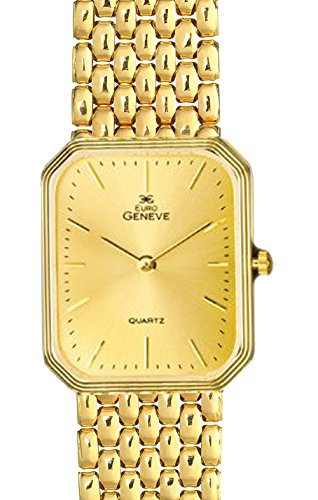 Euro Geneve 14K Gold Men's Rectangle Watch-Link Band