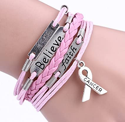 Cause Breast Cancer Warrior/Prevention/Awareness Silver Hope/Faith/Believe Multi-layer Leather Rope Handmade Pink Ribbon Breast Cancer Awareness Bracelet Shipped from USA