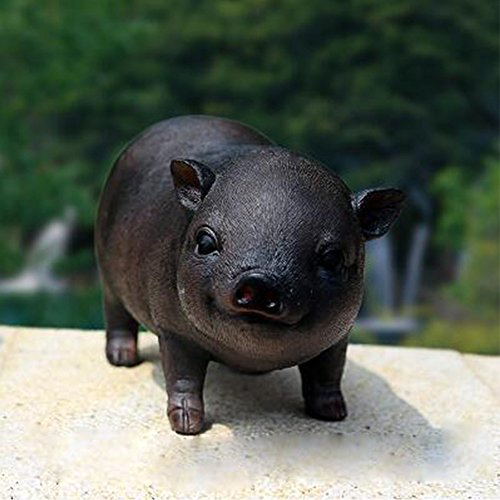 WuKong Home Decor Patio, Lawn & Garden Outdoor Décor Garden Sculptures & Statues Decorative Stones Pig Decor (Black#1) For Sale