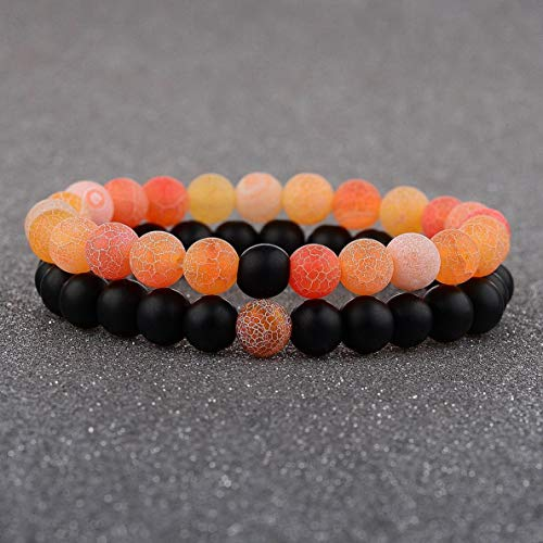 Gatton 2 Distance Bracelets for Lovers Couples Matching Gift Matte Agate 8mm Bead Stone | Model BRCLT - 41892 |