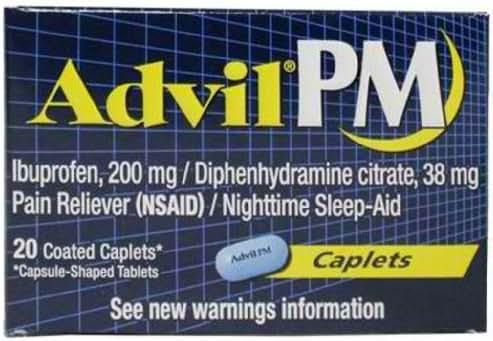 Advil PM Ibuprofen Pain Relievers Caplet, 38 Milligram - 6 box per pack -- 12 packs per case.