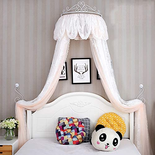 姫ベッドキャノピー,クラウン ドーム蚊帳 女の子のプレイルームのためのレースベッドカーテン ベッド-a