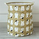 Yiliag Animals Cartoon Laundry Hamper Linen Cotton Laundry Basket Toy Clothes Laundry Bin-Brown/Cat