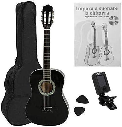 NAVARRA NV14PK - Guitarra acustica STARTER PACK 3/4 negro con bordes crema, Cliptuner pantalla LCD de aguja con iluminación de fondo, 2 Púa: Amazon.es: Instrumentos musicales