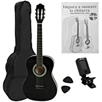 Navarra NV12PK - Guitarra Clásica para Aprender, Sintonizador con Clip Pantalla LCD, con Funda Tipo mochila y Bolsillo…