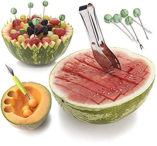 Watermelon Slicer Kit - Stainless Steel Tong with cutter and baller - Square Maker, Carving Knife, and Fruits Forks - For melon watermelons dragon fruit etc - Professional Kitchen Tool by Home Igniter