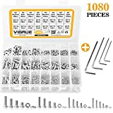 VIGRUE M2 M3 M4 M5 Stainless Steel Screws and Nuts Flat Washers 1080 Pcs Hex Button Head Cap Assortment with 4 Wrenches Larger Image
