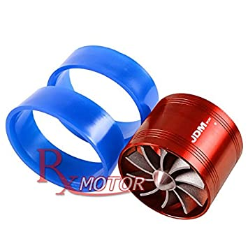 Rxmotor Universal Car Fuel Gas Saver Supercharger Turbo Charger Air Intake Fan (RED)