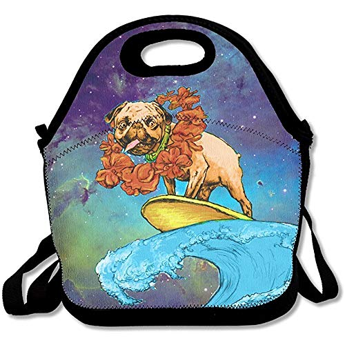 Surfing Pug With A Wreath Lunch Bag Tote Handbag Lunchbox Food Container Tote Cooler Warm Pouch For School Work Office