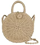 Best Circle Handbags - Lush Leather Beige Handmade Woven Circle Straw Abacá Review