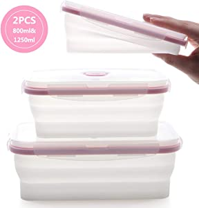 fancyfree Silicone Collapsible Lunch Box, leakproof Benton Containers,Microwave Oven Available,Folding Bowl Set With Leakproof Lid,2 Packs (Pink Transparent)