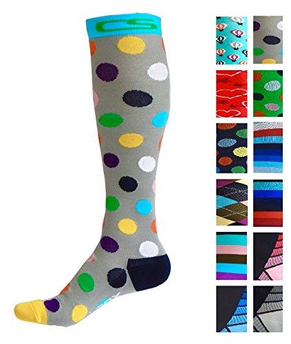Compression Socks for Men & Women - BEST Graduated Athletic Fit for Running, Nurses, Shin Splints, Flight Travel, & Maternity Pregnancy - Boost Stamina, Circulation & Recovery (Dancing Dots, L/XL)