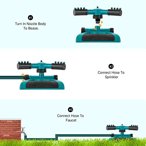 Sprinkler, Lawn Sprinklers Oscillating Water Irrigation Sprayer for Garden with Automatic 360 Rotating Head, Triple Arms & Easy Connection - Hose Sprinkler for Yard & Patio by Joygardin (Image #3)