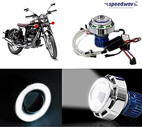 speedwav led projector light with angel eye white royal enfield