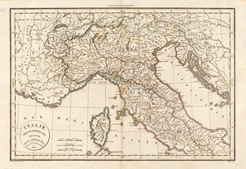 'Italie Septentrionale divisée en ses différens États'. DELAMARCHE - 1823 - old map - antique map - vintage map - printed maps of Italy