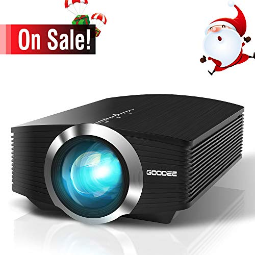 Video Projector, GooDee Mini Projector 2018 (Upgraded Version) +80% lumens LED Portable Projector with HDMI, Movie Projector with 130 Compatible with Fire TV Stick, VGA, USB for Home Theater Movie