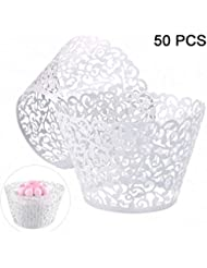 Cupcake Wrappers Lace Cupcake Liners Laser Cut Cupcake Papers Cupcake Cups Cases for Wedding/Birthday Party Decoration (50pcs/set, white)