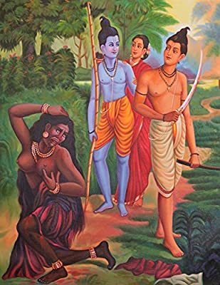 A Color Symbolic Episode from the Ramayana - Oil on Canvas - Artist Giri Raj Sharma