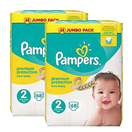 Pampers Pañales New Baby Jumbo Pack, tamaño 2, 2 x 68 unidades)