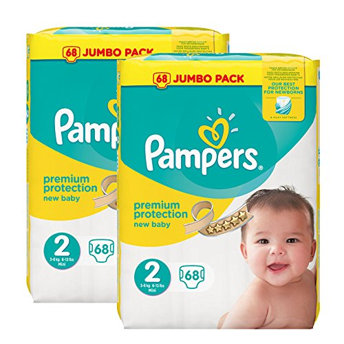 Pampers New Baby Nappies Jumbo Pack, Size 2, 2 x 68 Pack