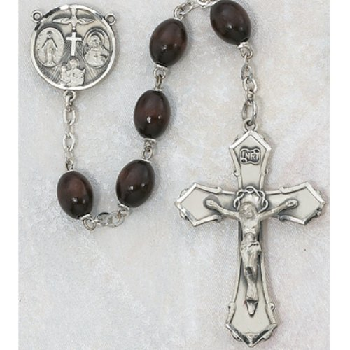 STERLING SILVER 6X8MM BROWN WOOD ROSARY BEAD MENS BOYS (Silver Beads Childrens Rosary Sterling)