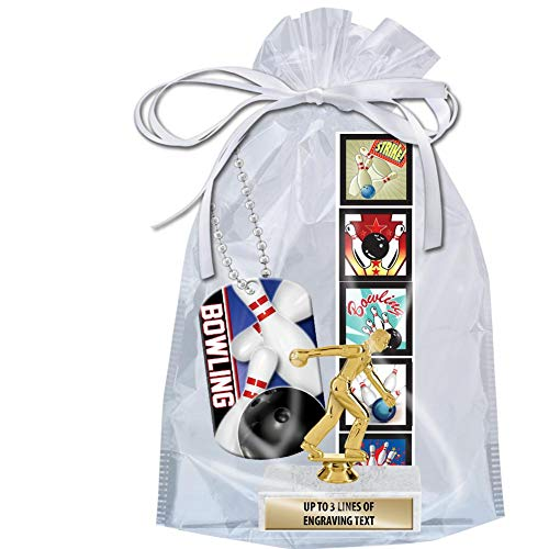 Crown Awards Bowling Goodie Bags, Bowling Favors for Bowling Themed Party Supplies Comes with Personalized Boys Bowling Party Bowling Trophy, Bowling Dog Tag and Bowling Stickers 20 Pack Prime by Crown Awards (Image #1)