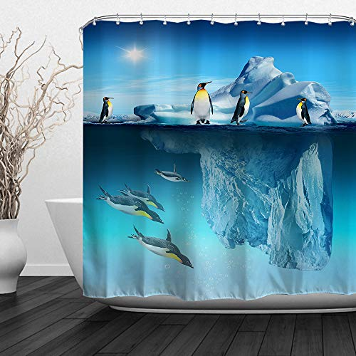 - ALFALFA Penguins Decor Shower Curtain,Penguins Aquatic Flightless Birds Polar South Pole Wildlife Sea Animals, Bathroom Curtain Set with Hooks, 72