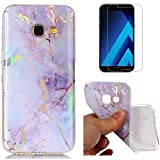 For Samsung Galaxy A5 2017 A520 Marble Case Purple,OYIME Unique Luxury Glitter Colorful Plating Pattern Skin Design Clear Silicone Rubber Slim Fit Ultra Thin Protective Back Cover Glossy Soft Gel TPU Shell Shockproof Drop Protection Protective Transparent Bumper and Screen Protector
