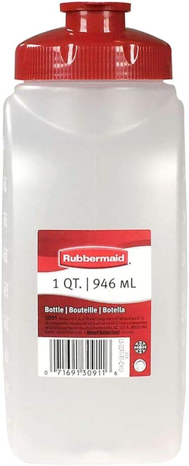Rubbermaid 1776348 MixerMate Clear 1 Qt Bottle with Chili Red Lid