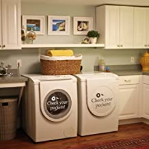 Check your pockets Vinyl laundry room Wall Decal Washhouse Wall Quote Wall Sticker Wall Graphic Front/Top Load Washer White