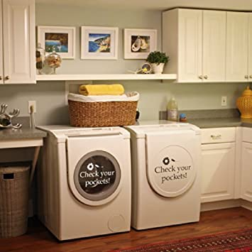 Check Your Pockets Vinyl Laundry Room Wall Decal Washhouse Wall Quote Wall  Sticker Wall Graphic Front Part 40