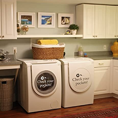 Check Your Pockets Vinyl Laundry Room Wall Decal Washhouse Wall Quote Wall  Sticker Wall Graphic Front Part 73