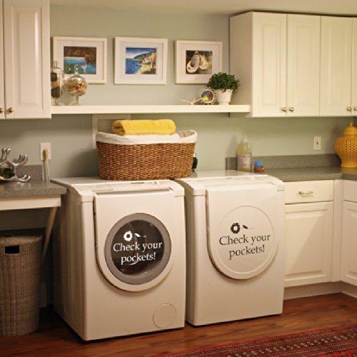 Ihre Taschen Überprüfen-VINYL Wand Aufkleber Aufkleber für Waschküche Waschmaschine D ¨ ¦ cor, Vinyl, Weiß, 11