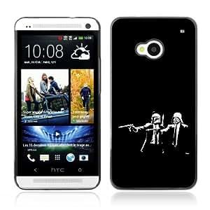 CaseCaptain Black Hard Back Case Cover HTC ONE ( M7 ) ( Funny Pupl Fiction Star Wars )