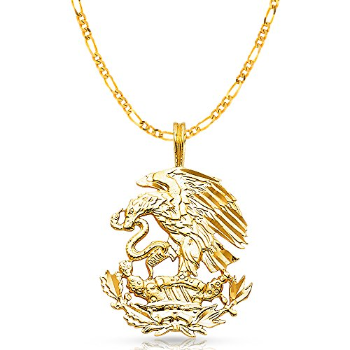 14K Yellow Gold Eagle Charm Pendant with 3.1mm Figaro 3+1 Chain Necklace - 20