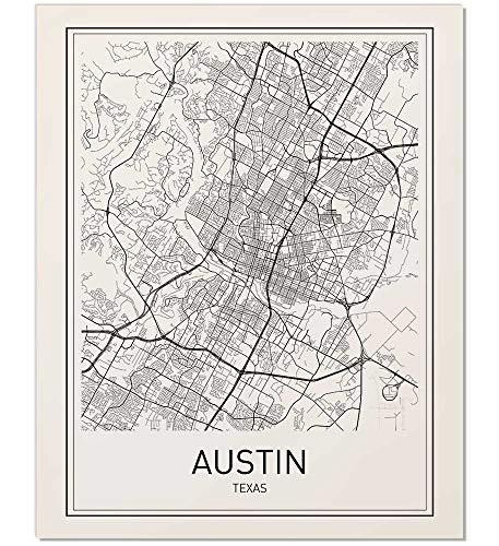 Austin Map, Austin Map Print, City Maps, Map Print, Map Art Print, Map Poster, Texas Map, Texas, Black White Map, Map Wall Art, Map Art, Modern City Art, Scandinavian Art, City Map Poster, 8x10