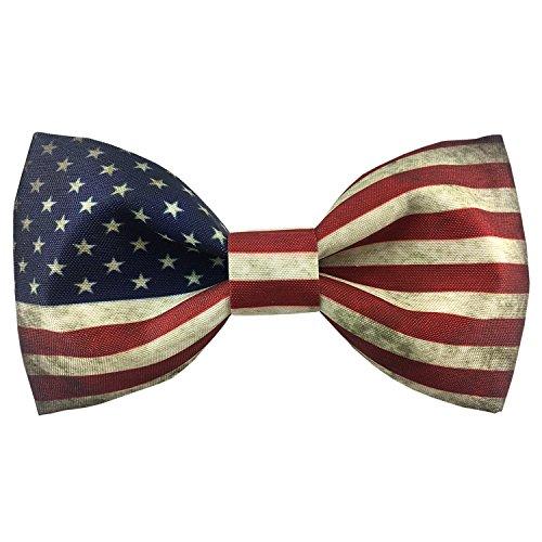100% Satin Silk Mens Pre-tied Bowtie Stars Stripes American Flag Solid Bow Ties (134)