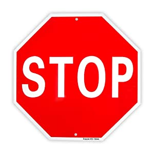 "Stop Sign Street Slow Warning Reflective Signs 12""x 12"" 40 Mil Rust Free Aluminum Sign, UV Protected and Weatherproof"