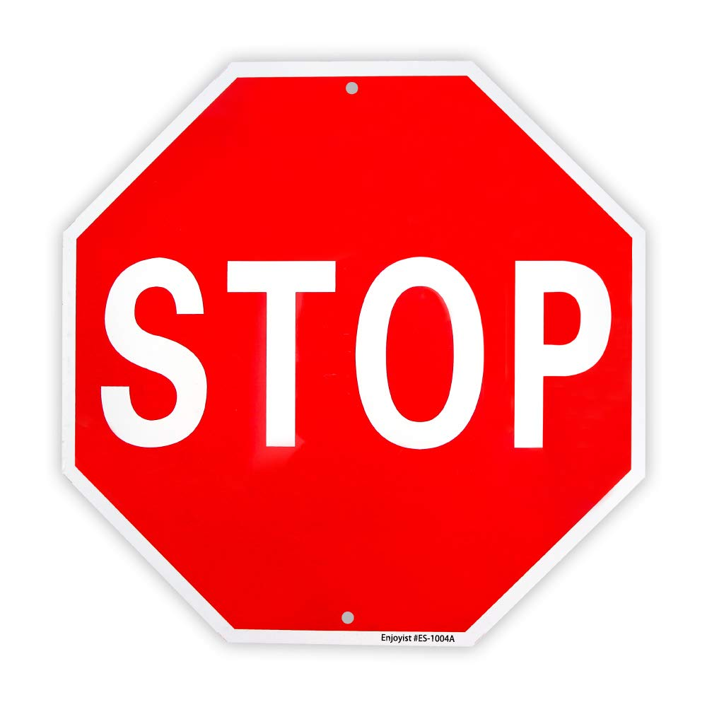 Stop Sign Street Slow Warning Reflective Signs 12''x 12'' 40 Mil Rust Free Aluminum Sign, UV Protected and Weatherproof